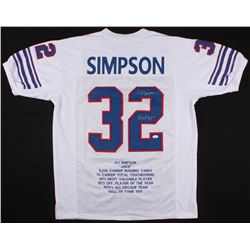 O.J. Simpson Signed Career Highlight Stat Jersey Inscribed  H.O.F. 85'  (JSA COA)