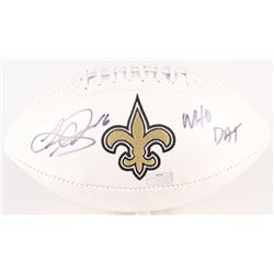 Lance Moore Signed Saints Logo Football Inscribed  WHO DAT  (Radtke Hologram)