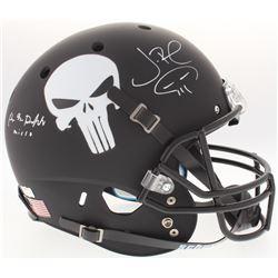 "Jon Bernthal  Ebon Moss-Bachrach Signed Custom Matte Black ""Punisher"" Full-Size Helmet with Original"