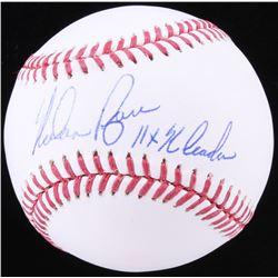 "Nolan Ryan Signed OML Baseball Inscribed ""11x K Leader"" (Beckett COA)"