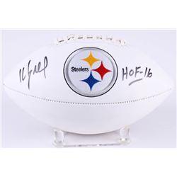 """Kevin Greene Signed Steelers Logo Football Inscribed """"HOF 16"""" (Radtke Hologram)"""