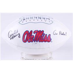 """Archie Manning Signed Ole Miss Rebels Logo Football Inscribed """"Go Rebs!"""" (Radtke COA)"""