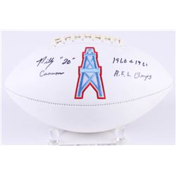 """Billy Cannon Signed Oilers Logo Football Inscribed """"1960  1961 A.F.L. Champs"""" (Radtke COA)"""