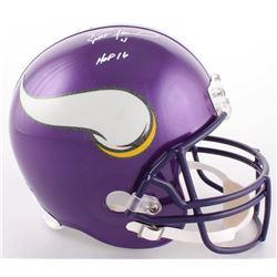 """Brett Favre Signed Vikings Full-Size Helmet Inscribed """"HOF 16"""" (Favre COA)"""
