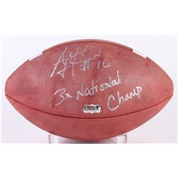 "A.J. McCarron Signed Official NCAA Football Inscribed ""3x National Champ!"" (Radtke Hologram)"