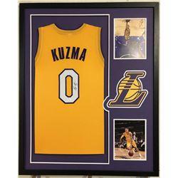 Kyle Kuzma Signed 34x42 Custom Framed Jersey (JSA COA)