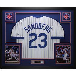 "Ryne Sandberg Signed 35"" x 43"" Custom Framed Jersey Inscribed ""HOF 05"" (Tristar)"
