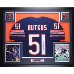 Dick Butkus Signed 35x43 Custom Framed Jersey (JSA COA)