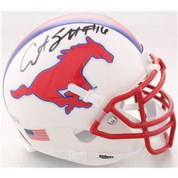 Courtland Sutton Signed SMU Mustangs Mini-Helmet (Beckett COA)