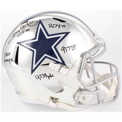 Tony Dorsett Signed Cowboys Full-Size Chrome Speed Helmet with Multiple Inscriptions (JSA COA)