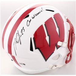 "Melvin Gordon Signed Wisconsin Badgers Full-Size Speed Helmet Inscribed ""On Wisconsin!"" (Radtke COA)"
