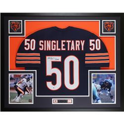 """Mike Singletary Signed 35x43 Custom Framed Jersey Display Inscribed """"HOF 98"""" (Beckett COA)"""