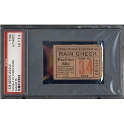 1925 Hilldale vs. Cuban Stars Negro League Baseball Ticket Stub (PSA Encapsulated)