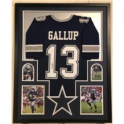 Michael Gallup Signed 34x42 Custom Framed Jersey Display (JSA COA)