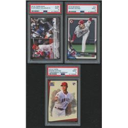 Lot of (3) PSA Graded 9 Shohei Ohtani Rookie Cards with 2018 Topps Now #159 / 3383*, 2018 Bowman #49