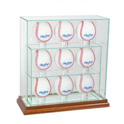 Premium 7-9 Baseball Upright Glass Display Case with Mirrored Walnut Wood Base (New)