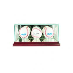 Premium Triple Baseball Display Case with Mirrored Cherry Wood Base  Mirrored Back