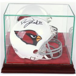 Premium Mini-Helmet Glass Display Case with Red Suede Cherry Wood Base  Mirrored Back