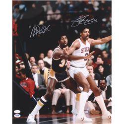 Magic Johnson  Julius Erving Signed 16x20 Photo (JSA COA  PSA COA)