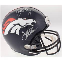 John Elway  Terrell Davis Signed Denver Broncos Full-Size Helmet (Radtke COA  Elway Hologram)
