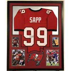 Warren Sapp Signed 34x42 Custom Framed Jersey (JSA COA)