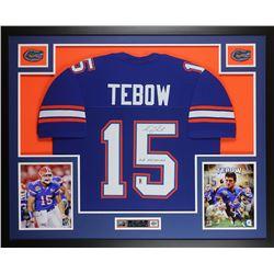 "Tim Tebow Signed Florida Gators 35x43 Custom Framed Jersey Display Inscribed ""07 Heisman"" (Tebow COA"