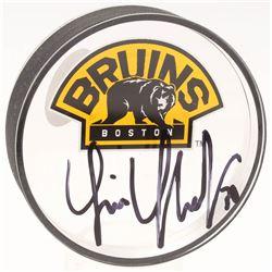 Tim Thomas Signed Boston Bruins Acrylic Logo Hockey Puck (JSA COA  YSMS Hologram)