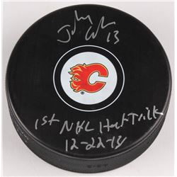 """Johnny Gaudreau Signed Calgary Flames Signed Logo Hockey Puck Inscribed """"1st NHL Hat Trick 12-22-14"""""""
