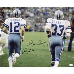 Roger Staubach  Tony Dorsett Signed Dallas Cowboys 16x20 Photo (JSA COA)