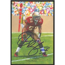 Derrick Brooks Signed 2014 LE Tampa Bay Buccaneers 4x6 Pro Football Hall of Fame Art Collection Card
