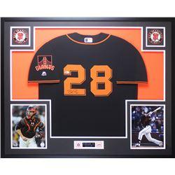 Buster Posey Signed 35x43 Custom Framed Jersey Display (Beckett COA)