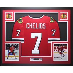 """Chris Chelios Signed 35"""" x 43"""" Custom Framed Jersey (JSA COA)"""