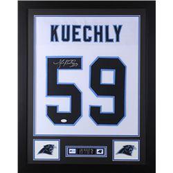 Luke Kuechly Signed 24x30 Custom Framed Jersey (JSA COA)