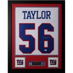 Lawrence Taylor Signed 24x30 Custom Framed Jersey (JSA COA)