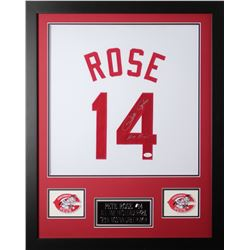 "Pete Rose Signed 24x30 Custom Framed Jersey Inscribed ""Hit King"" (JSA COA)"