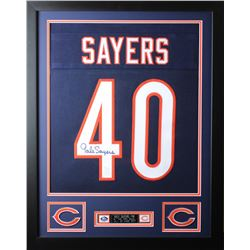 Gale Sayers Signed 24x30 Custom Framed Jersey (JSA COA)