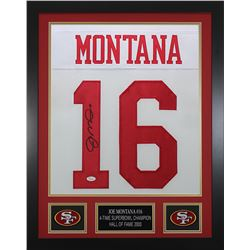 Joe Montana Signed 24x30 Custom Framed Jersey (JSA COA)