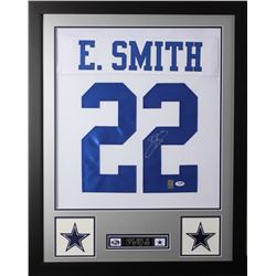 Emmitt Smith Signed  24x30 Custom Framed Jersey (PSA COA  Smith Hologram)