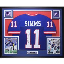 "Phil Simms Signed  35x43 Custom Framed Jersey Inscribed ""SB XXI MVP"" (PSA COA  GTSM Hologram)"