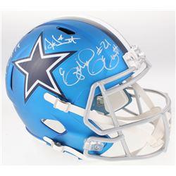 Dak Prescott, Amari Cooper  Ezekiel Elliot Signed Dallas Cowboys Full-Size Blaze Speed Helmet (Becke