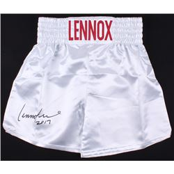 "Lennox Lewis Signed Boxing Trunks Inscribed ""2017"" (JSA COA)"