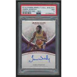 2016-17 Immaculate Collection Heralded Signatures Red #38 James Worthy Autogrpahed Card (PSA 7)