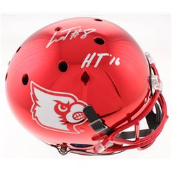 "Lamar Jackson Signed Louisville Cardinals Red Chrome Full-Size Helmet Inscribed ""HT '16"" (Schwartz S"
