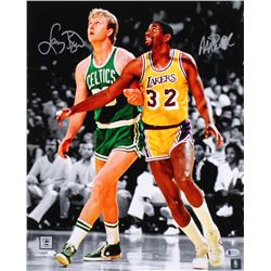 Larry Bird  Magic Johnson Signed 16x20 Photo (Beckett COA)