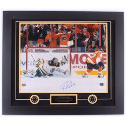 Tuukka Rask Signed Bruins 23.5x27.5 Custom Framed Photo Display (Rask Hologram)