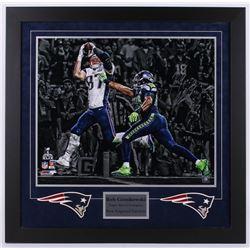 "Rob Gronkowski Signed LE Patriots ""Super Bowl Champion"" 31.25x31.75 Custom Framed Photo Display (Ste"