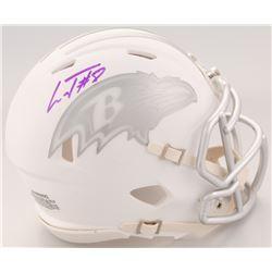 Lamar Jackson Signed Baltimore Ravens White ICE Speed Mini Helmet (Schwartz Sports COA)