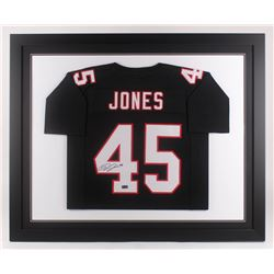 Deion Jones Signed 35.5x43.5 Custom Framed Jersey (Radtke COA)