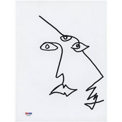 Ezra Miller Signed 8.5x11 Cut with Original Sketch (PSA COA)