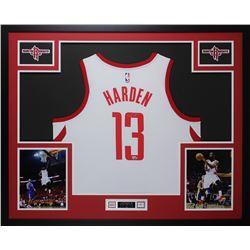 James Harden Signed 35x43 Custom Framed Jersey Display (Fanatics)